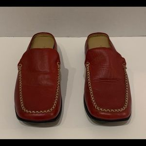 Covington Red Leather Slide In Loafers Mules